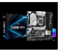 Материнская плата для Intel AsRock Z490M PRO4 4xDDR4 2х M.2 sata/NVMe  + m.2 for wi-fi/bt Type-C